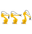set of assembly handling robots vector image