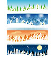 set of four seamless townscapes vector image vector image