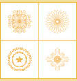 set water marks golden seals star laurel branches vector image vector image