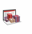 shopping online laptop computer and git box vector image vector image