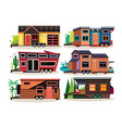 small tiny houses modern mobile trailers vector image vector image