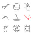 smoking linear icons set vector image vector image
