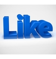 Social media concept blue 3d Like word on white vector image vector image