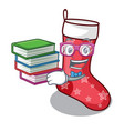 student with book cute christmas socks isolated on vector image vector image