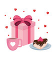 sweet cake portion with gift and coffee cup vector image