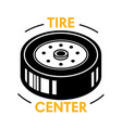 tire center banner with wheel disk without rubber vector image