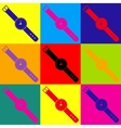 Watch sign Pop-art style icons set vector image