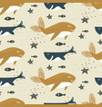 whale seamless pattern cartoon style blue vector image vector image