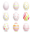 white easter eggs set with ornaments vector image