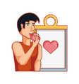 young athletic man eating apple with checklist vector image