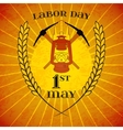 May 1st Labor Day Mine helmet and wheat ears vector image