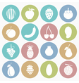 white icons fruit vector image