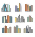 isolated colorful high buildings icons collection vector image