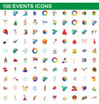 100 events icons set cartoon style vector image vector image