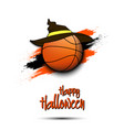 basketball ball with witch hat and happy hallowen vector image vector image