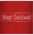 Big red gold Christmas Label on striped Background vector image vector image