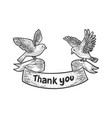 birds carry thank you banner ribbon sketch vector image