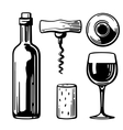 Bottle glass corkscrew cork Side and top view vector image vector image