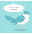 Card with a lovely animation birdie Recognition vector image