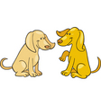 Cartoon illustration of two cute dogs vector image