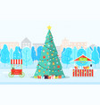 christmas tree near trees and buildings vector image vector image