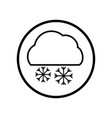 cloud and snowflake icon in circle line - vector image vector image