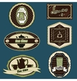 coffee and tea stickers green vector image