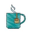 color crayon stripe cartoon mug with bag tea and vector image vector image