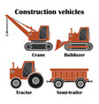 construction vehicles set vector image