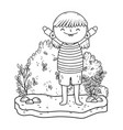 cute little girl in the landscape vector image