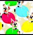 dancing couples seamless patern people dancers vector image