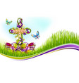 easter crucifix flowers greetting card vector image vector image