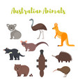 Flat style set of australian animals