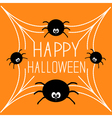 Four cartoon spider on the web Halloween card vector image vector image