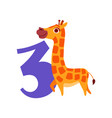 funny cute giraffe animal and number three vector image vector image