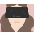 girl with glasses virtual reality vector image