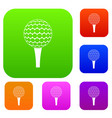 golf ball on a tee set color collection vector image vector image