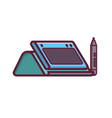 graphic drawing tablet with stylus icon vector image vector image