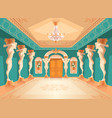 hall with atlas columns ballroom interior vector image vector image