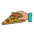 hand with delicious italian pizza vector image vector image