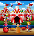 happy children playing on the circus arena vector image vector image