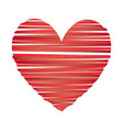 heart striped icon valentine day vector image vector image