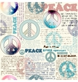 Imitation of grunge newspaper with pacific symbols vector image vector image