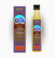 label for refined flaxseed oil vector image vector image