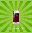 lets have fun vodka or rum cola cocktail with ice vector image vector image