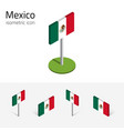 Mexican flag set of isometric flat icons 3d style