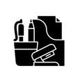office supplies black glyph icon vector image vector image