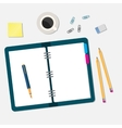 office workspace with open book and objects vector image vector image