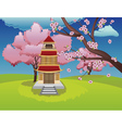 Oriental House and Blooming Sakura vector image vector image