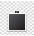 photo frame with shadow hanging with paper clip vector image vector image